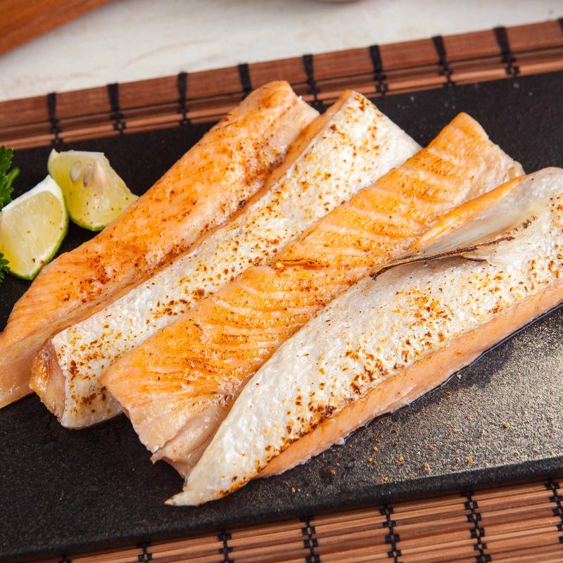 嚴選智利鮮嫩鮭魚肚條,今日結帳再打85折!