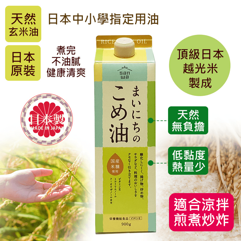 日本三和100%玄米胚芽油,今日結帳再打85折!